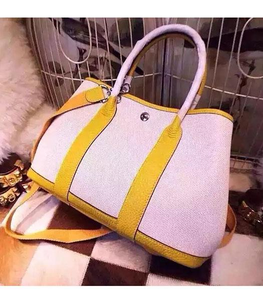 Hermes 32cm Fabric With Lemon Yellow Leather Garden Party Tote Bag