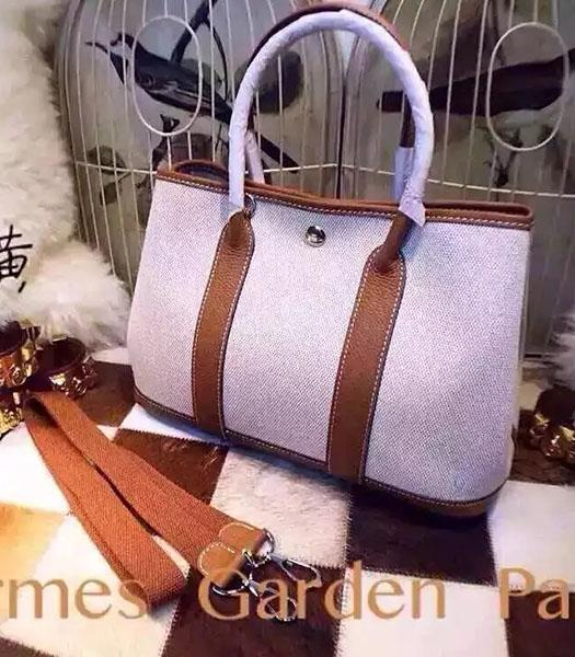 Hermes 32cm Fabric With Earth Yellow Leather Garden Party Tote Bag
