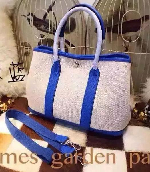 Hermes 32cm Fabric With Sapphire Blue Leather Garden Party Tote Bag