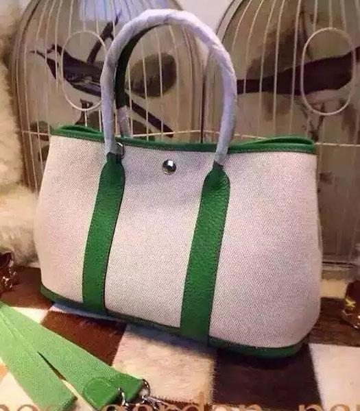 Hermes 32cm Fabric With Grass Green Leather Garden Party Tote Bag