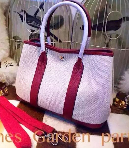 Hermes 32cm Fabric With Wine Red Leather Garden Party Tote Bag