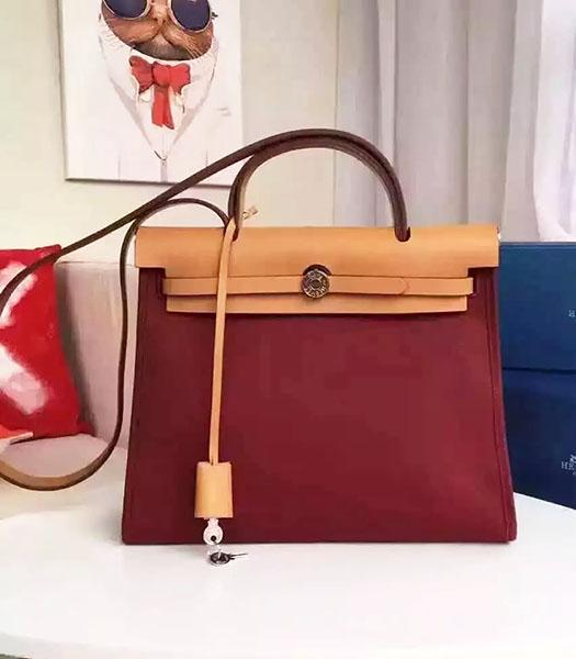 Hermes Kelly 32cm Wine Red Fabric With Earth Yellow Leather Bag