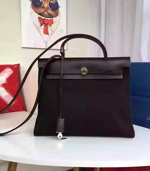 Hermes Kelly 32cm Black Fabric With Black Leather Bag