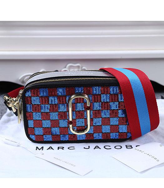 Marc Jacobs Red&Deep Blue Sequins Small Leather Shoulder Bag