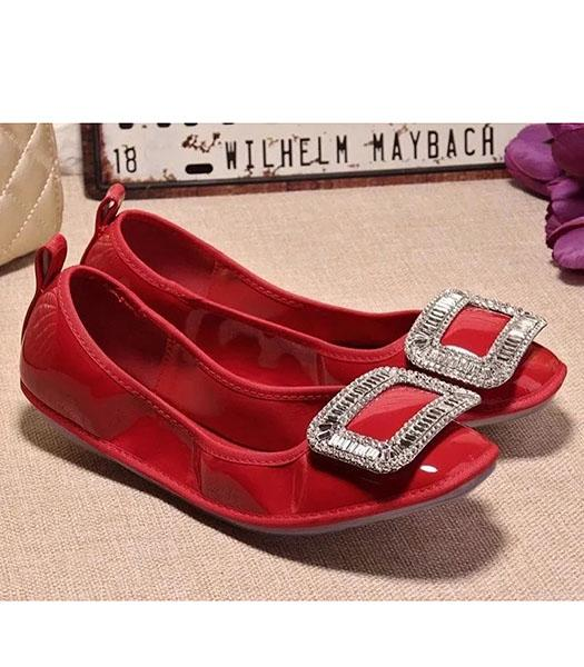Roger Vivier Patent Leather Crystal Decorative Dancing Shoes In Red