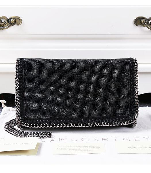 Stella McCartney Falabella Diamonds Crossbody Bag Silver Chain Black