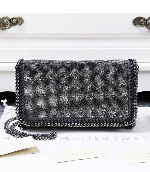 Stella McCartney Falabella Diamonds Crossbody Bag Silver Chain Dark Grey