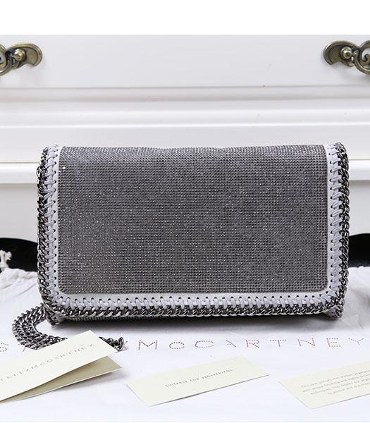 Stella McCartney Falabella Diamonds Crossbody Bag Silver Chain Light Grey