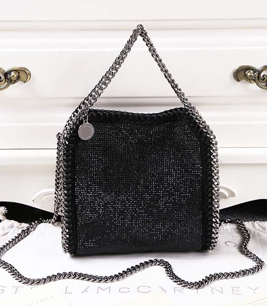Stella McCartney Falabella Diamonds Small Black Shoulder Bag Silver Chain