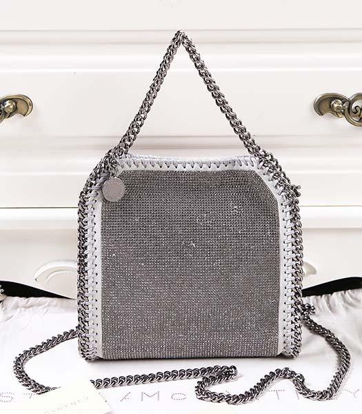 Stella McCartney Falabella Diamonds Small Light Grey Shoulder Bag Silver Chain