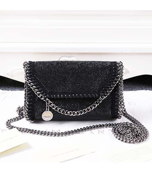 Stella McCartney Diamonds Shoulder Bag Silver Chain Black