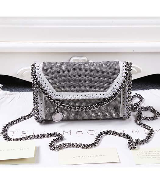 Stella McCartney Diamonds Shoulder Bag Silver Chain Light Grey