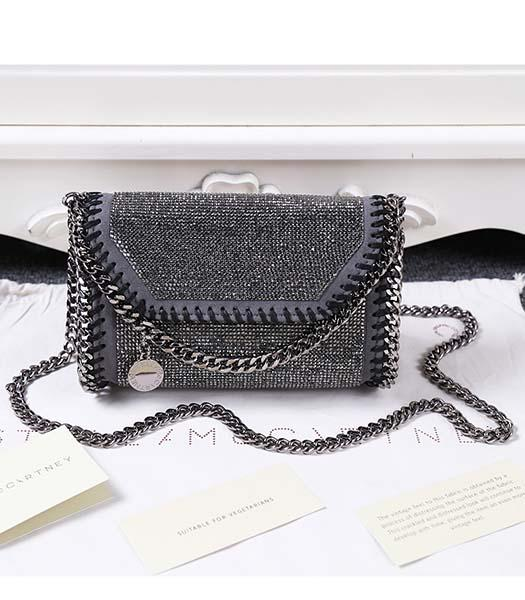 Stella McCartney Diamonds Shoulder Bag Silver Chain Dark Grey