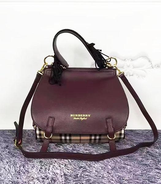 Burberry Jujube Red Leather Check Canvas The Bridle Bag