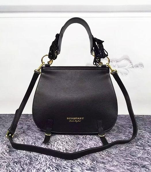 Burberry Black Leather Check Canvas The Bridle Bag