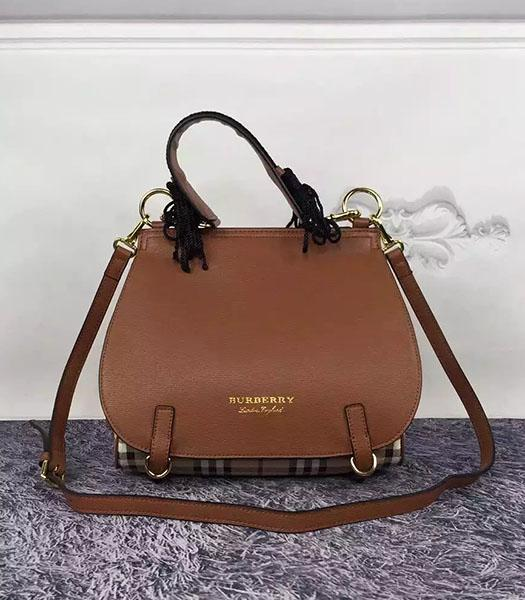 Burberry Brown Leather Check Canvas The Bridle Bag