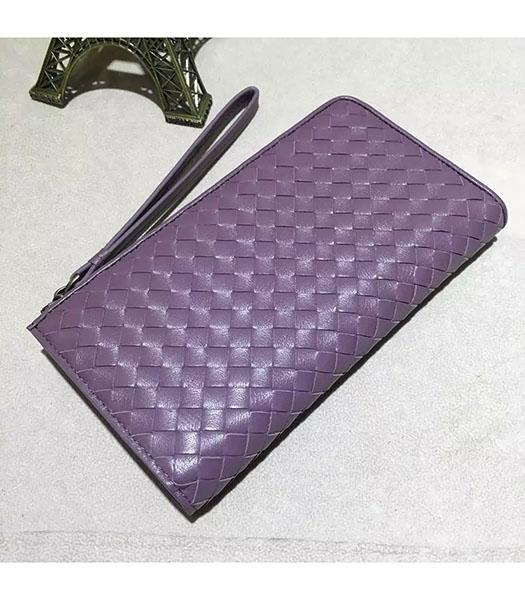 Bottega Veneta Woven Purple Lambskin Leather Zipper Wallet