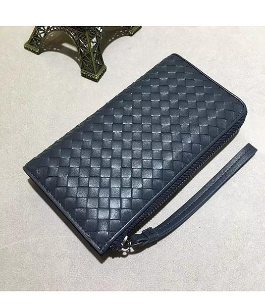 Bottega Veneta Woven Dark Blue Lambskin Leather Zipper Wallet