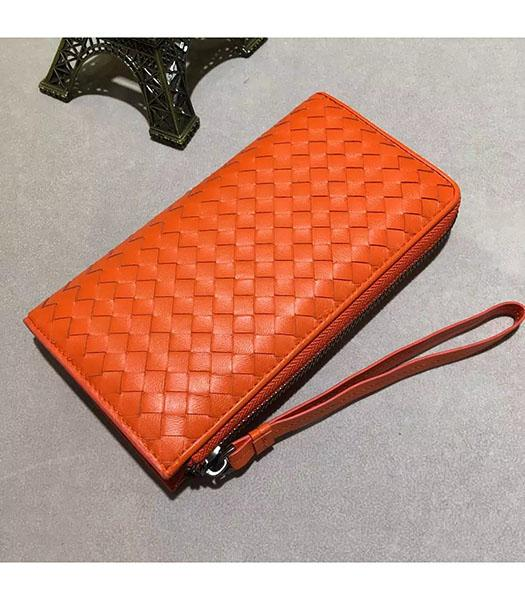 Bottega Veneta Woven Orange Lambskin Leather Zipper Wallet