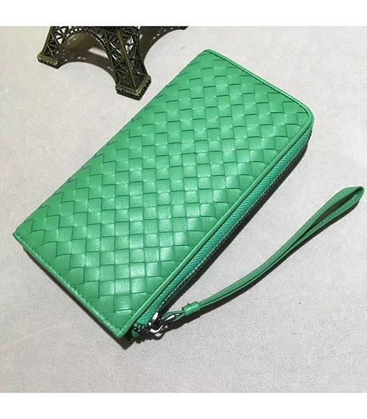 Bottega Veneta Woven Green Lambskin Leather Zipper Wallet