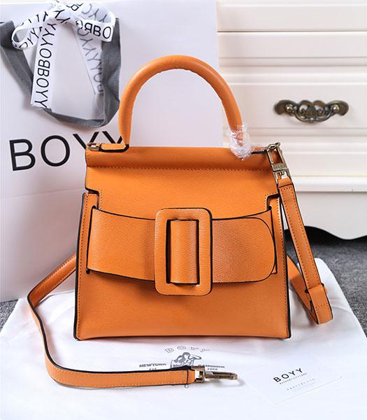 Boyy 23cm Orange Original Leather Buckle Belt Tote Bag
