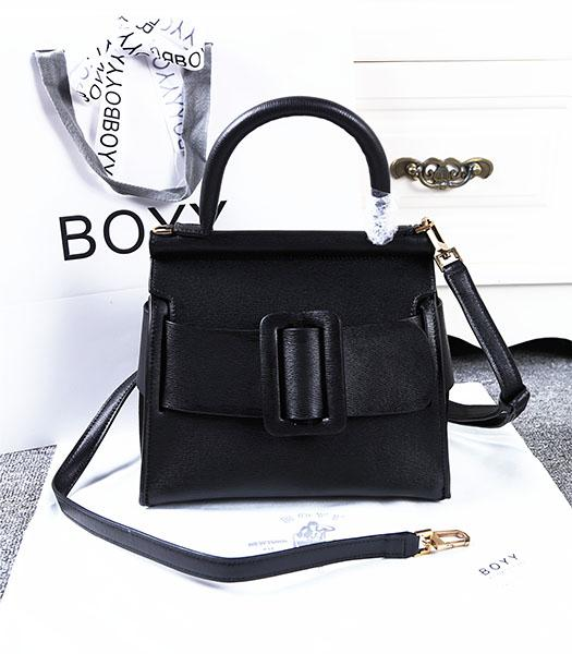 Boyy 23cm Black Original Leather Buckle Belt Tote Bag