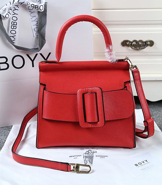 Boyy 23cm Red Original Leather Buckle Belt Tote Bag