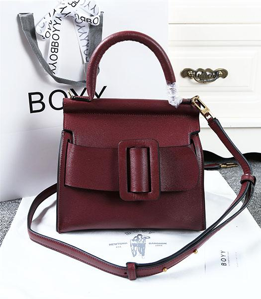 Boyy 23cm Wine Red Original Leather Buckle Belt Tote Bag