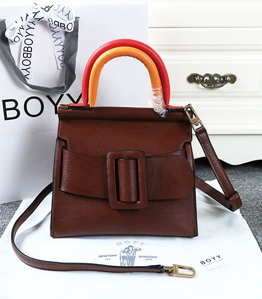 Boyy 23cm Coffee Original Leather Buckle Belt Tote Bag