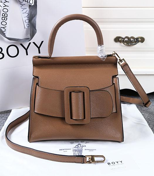 Boyy 23cm Khaki Original Leather Buckle Belt Tote Bag