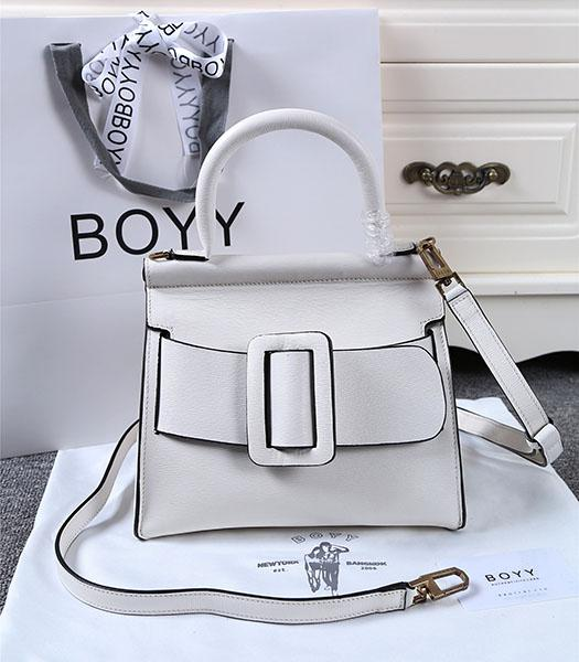 Boyy 23cm White Original Leather Buckle Belt Tote Bag