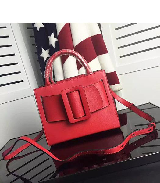 Boyy Bobby 23cm Red Leather Buckle Belt Small Tote Bag