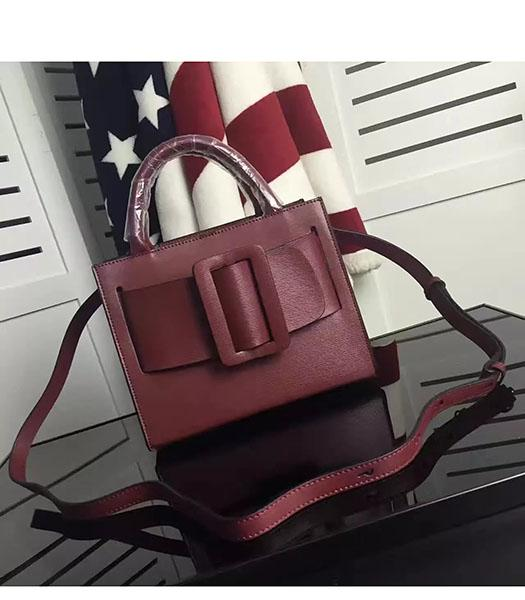 Boyy Bobby 23cm Jujube Red Leather Buckle Belt Small Tote Bag