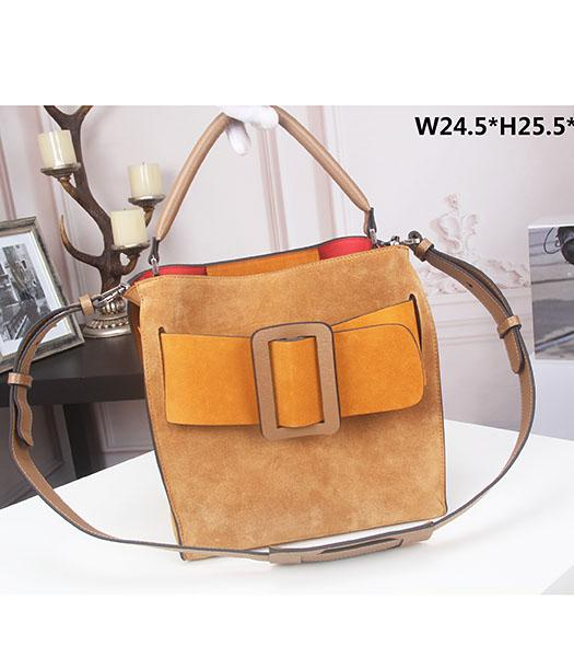 Boyy Original Suede Leather Buckle Belt Small Tote Bag Light Coffee&Orange
