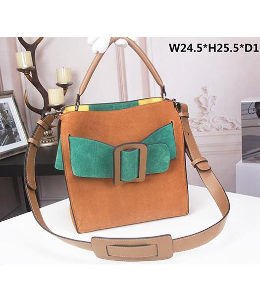Boyy Original Suede Leather Buckle Belt Small Tote Bag Light Coffee&Green