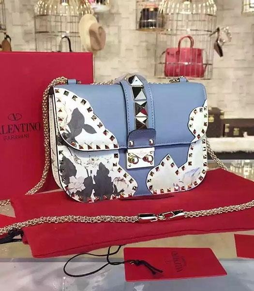 Valentino Rivets Blue Leather Japan Flower Mini Golden Chain Bag