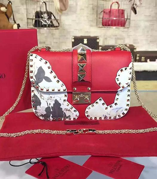 Valentino Rivets Red Leather Japan Flower Mini Golden Chain Bag