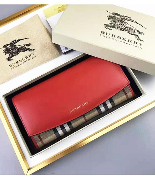 Burberry Original Calfskin Leather Check Wallet Red