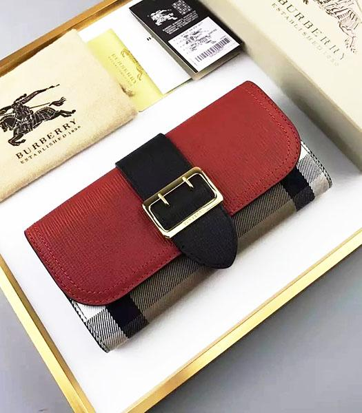 Burberry Red Palmprint Calfskin Leather Check Wallet