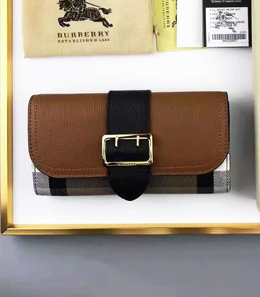 Burberry Brown Palmprint Calfskin Leather Check Wallet