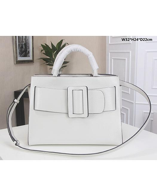 Boyy 32cm White Original Epi Leather Buckle Belt Tote Bag