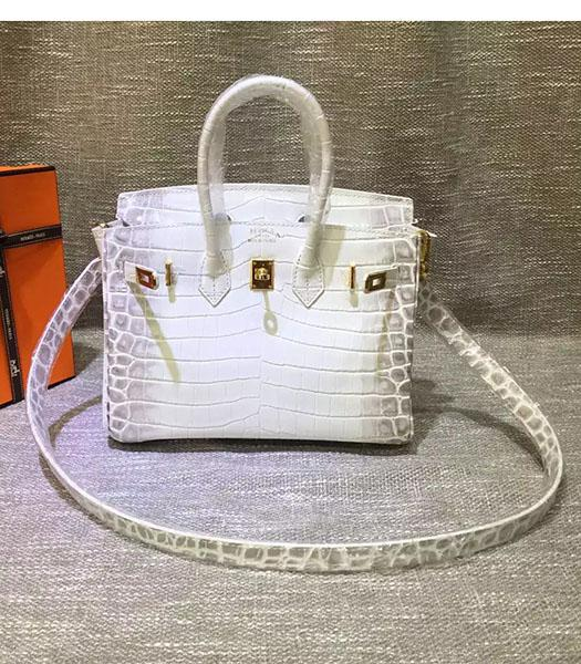 Hermes Birkin 25cm White Croc Veins Leather Top Handle Bag
