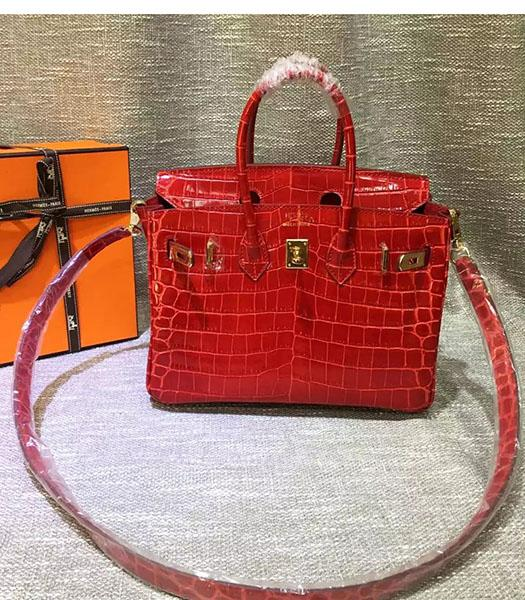 Hermes Birkin 25cm Red Croc Veins Leather Top Handle Bag