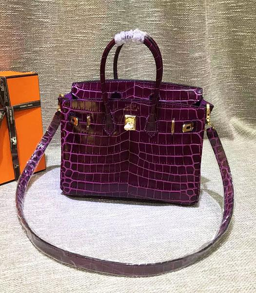 Hermes Birkin 25cm Purple Croc Veins Leather Top Handle Bag