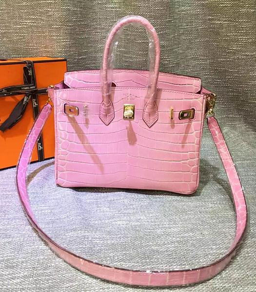 Hermes Birkin 25cm Pink Croc Veins Leather Top Handle Bag