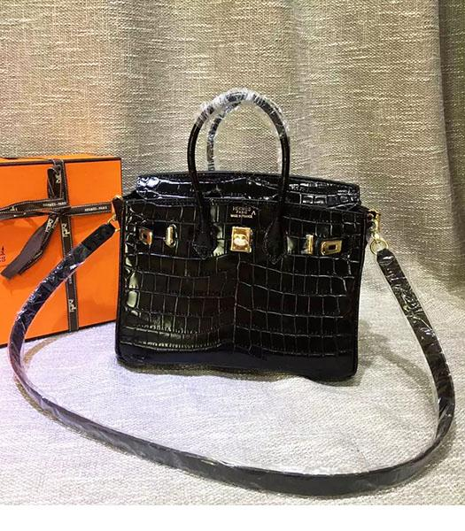 Hermes Birkin 25cm Black Croc Veins Leather Top Handle Bag
