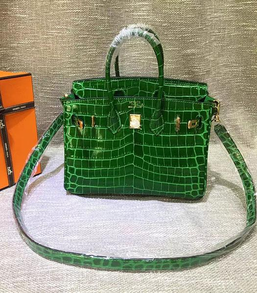 Hermes Birkin 25cm Green Croc Veins Leather Top Handle Bag
