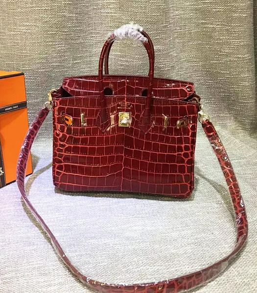 Hermes Birkin 25cm Jujube Red Croc Veins Leather Top Handle Bag