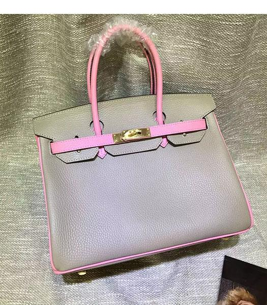 Hermes Birkin 30cm Pink&Grey Mixed Colors Leather Handle Bag