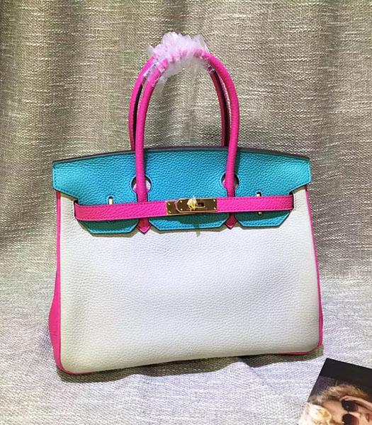 Hermes Birkin 30cm White&Blue Mixed Colors Leather Handle Bag